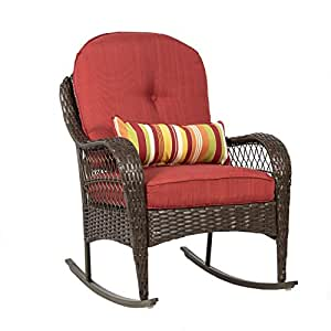 Best ChoiceProducts Wicker Rocking Chair Patio Porch Deck Furniture All Weather Proof