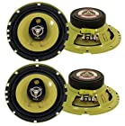 4) New PYLE PLG6.3 6.5 560-Watt 3-Way Car Audio Coaxial Speakers Stereo Yellow