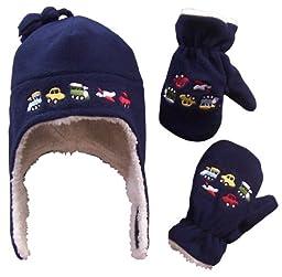 N\'Ice Caps Toddler Boys Fleece Hat & Glove Set Navy 2-4T