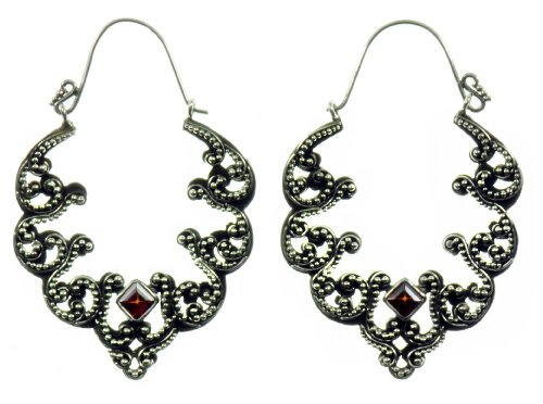 Silver Ornate Rubicon Earring Jewelry of Bali