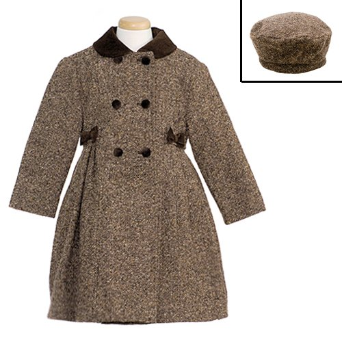 Buy Low Price Rothschild Girls Wool Tweed Bow Coat & Hat, a Girls Coat by Rothschild