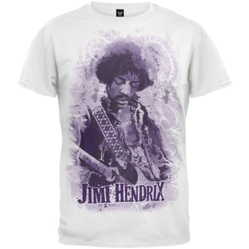 Old Glory Mens Jimi Hendrix - Guitar Jumbo Print T-Shirt - Small White