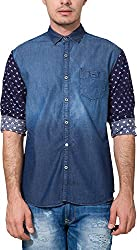Locomotive Men's Casual Shirt (15110001455783_LMSH010358_XX-Large_Blue Denim)