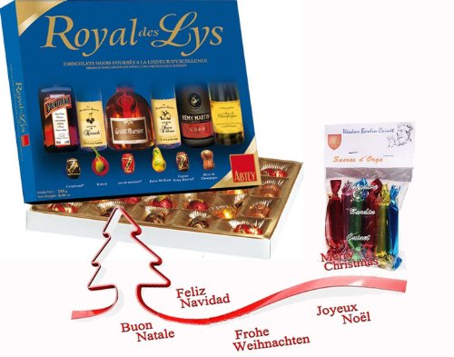 french 24 liquor filled dark chocolates royal lily 240 gr-24 chocolats noirs fourrés à la liqueur royal des lys ABTEY + 1 bag of barley sugar Théodore Bardin-Cuinet