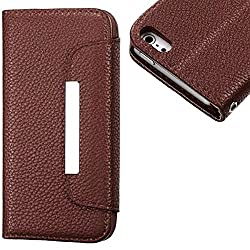 myLife (TM) Coffee Brown Luxury Design - Textured Koskin Faux Leather (Card and ID Holder + Magnetic Detachable Closing) Slim Wallet for iPhone 5/5S (5G) 5th Generation iTouch Smartphone by Apple (External Rugged Synthetic Leather With Magnetic Clip + Int
