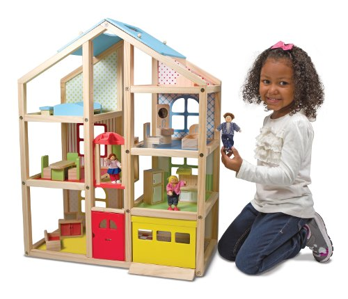 Melissa-Doug-Hi-Rise-Wooden-Dollhouse-With-15-pcs-Furniture-Garage-and-Working-Elevator