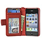 Navor Folio Wallet Case for iPhone 4 4S Pockets for Cards & Money, Clear Window Slot for License ID ( RED ) Reviews