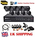 SUNLUXY Home 4CH CCTV DVR Day Night Weatherproof Security Camera Surveillance System