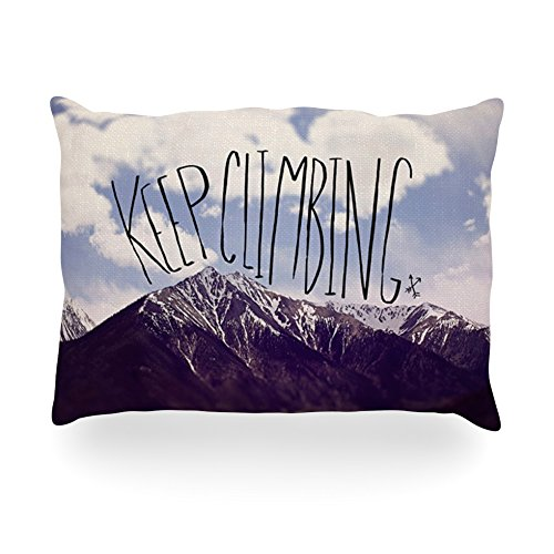 "Kess Inhouse Leah Flores ""Keep Climbing"" Mountain Quote Oblong Rectangle Outdoor Throw Pillow, 14 By 20-Inch front-979864"