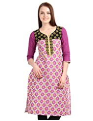ESTYLe Magenta 'N Yellow Printed Kurta From ESTYLe With Embroidered Yoke And Dobby Sleeve