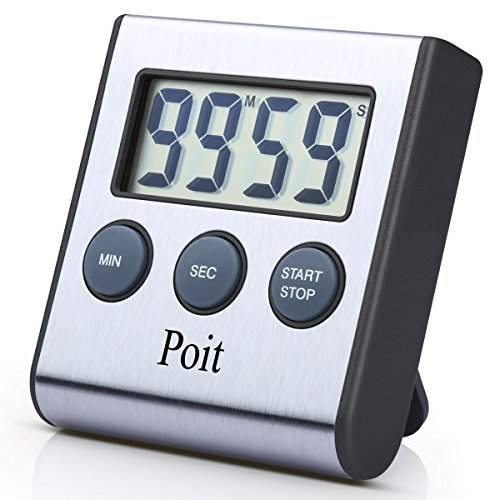 Poit Digital Cooking Food Kitchen Timer, Stainless Steel, Super Strong Magnetic Back, Retractable Stand, 2016 Latest Version