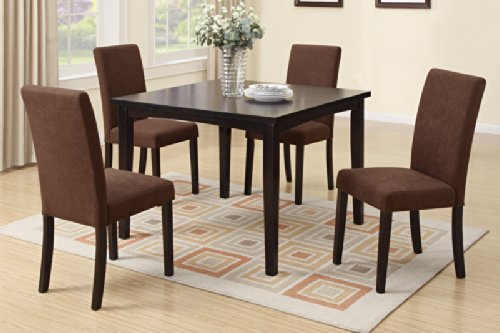 5 Piece Dining Set in Expresso Finish by Poundex