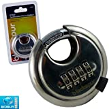 BRAND NEW - 4 DIGIT COMBINATION DISCUS STAINLESS STEEL PADLOCK - HARDENED STEEL SHACKLE - HEAVY DUTY 65MM - RUST & WEATHER RESISTANT - SECURE HOME, GARDEN SHED, GARAGE, MULTI-PURPOSE
