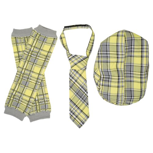 JuDanzy Hat, Tie & Leg Warmer Set for Baby & Toddler Boys (4-12 Months, Yellow & Gray)