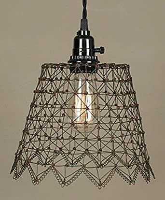 plug in french chicken wire swag lamp pendant light vintage rustic. Black Bedroom Furniture Sets. Home Design Ideas