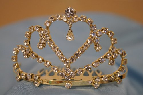 (Small)Elegant Bridal Wedding Tiara Crown With Crystal Party Accessories Dh3519(Gold)