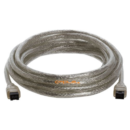 Cmple - 9 PIN/ 9PIN BETA FireWire 800 - FireWire 800 Cable -15FT, CLEAR