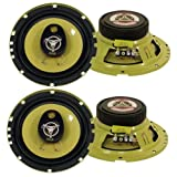 "4) New PYLE PLG6.3 6.5"" 560-Watt 3-Way Car Audio Coaxial Speakers Stereo Yellow"