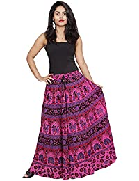 Flavia Creation Pure Cotton Block Printed Hot Dyed Handcrafted Fashion Long Skirt- Assorted Designs- Free Size - B06XWSL9H9