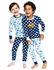 2 Pack Pure Cotton Helicopter & Star Print Pyjamas
