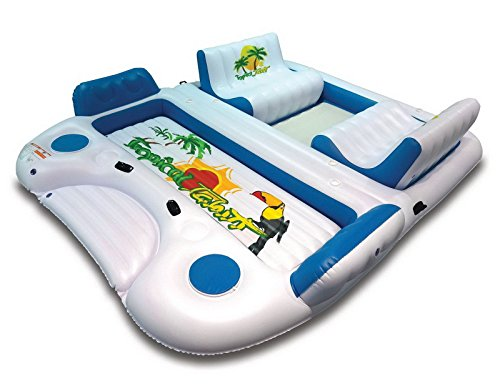 "21146 Tropical Tahiti Giant Inflatable 6-Person Capacity 155""x129""x30"" Floating Island Raft w 2 Built-In Coolers & 6 Cup Holders"