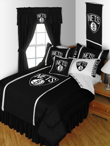 "Brooklyn Nets 5 Pc Twin Comforter Set And One Matching Window Valance/Drape Set [84 Inch Drapes] (Comforter, 1 Flat Sheet, 1 Fitted Sheet, 1 Pillow Case, 1 Sham, 1 Matching Window Valance/Drape Set - 84"" Length Drapes) Save Big On Bundling! front-48001"