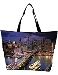 Snoogg Abstract Buildings At Night Designer Waterproof Bag Made Of High Strength Nylon