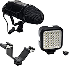 Opteka VM-200 Stereo Microphone amp VL-5 LED Light with Dual Shoe Mount Combo Kit for Digital SL RCa