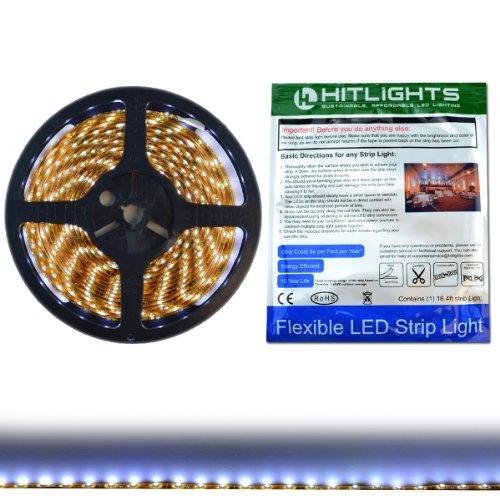 Hitlights Weatherproof Cool White Smd3528 Led Light Strip - 300 Leds, 16.4 Ft Roll, Cut To Length - 5000K, 149 Lumens Per Foot, Requires 12V Dc, Ip65