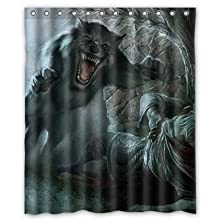 """buy Hertanercase Animal Real Nature Hungry Wolf Custom 100% Polyester Shower Curtain 60"""" X 72"""""""
