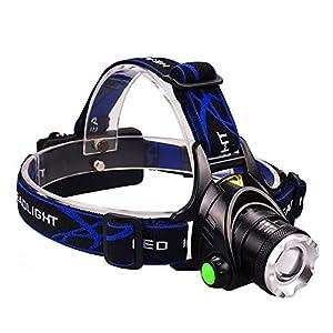 Lampe Frontale LED Ultra Puissante Rechargeable Etanche et Adjustable Confortable à Porter pour Chasse Pêche Camping ou Bricolage etc (noir&bleu)
