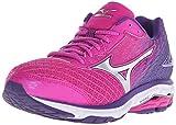 Mizuno Womens Wave Rider 19 Running Shoe, Fuchsia Purple/Silver, 8.5 B US