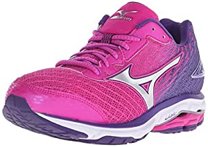 Mizuno Women's Wave Rider 19 Running Shoe, Fuchsia Purple/Silver, 8.5 B US