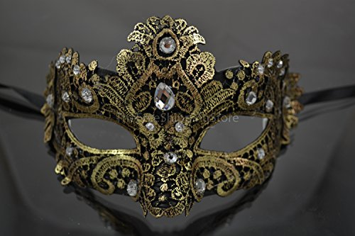 Yellow and Black Lace Mardi Gras Mask Embellished with Lace, Gems and Jewels