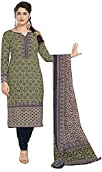 SP Marketplex Women's Cotton Unstitched Dress Materials (Spmsg311, Olive Green And Orange)