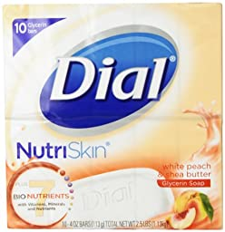 Dial NutriSkin Revitalizing Bar Soap, White Peach and Shae Butter, 10 Count (Pack of 2)
