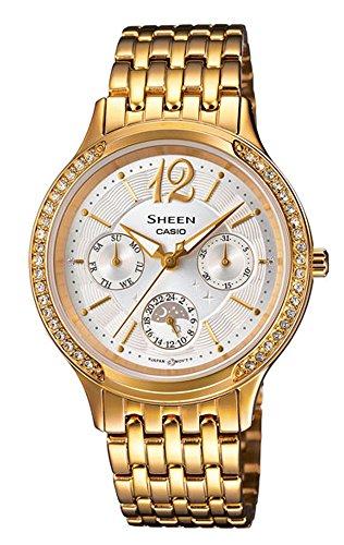 Casio SHE-3030GD-7AUER - Reloj para mujeres, correa de acero inoxidable color dorado