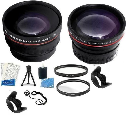 Professional Lens Accessory Kit Includes Lens Adapter + 2X Telephoto Converter Lens + 0.43X Wide Angle High Definition Lenses + Filter Kit (Uv And Polarizer) + Mini Tripod + Lcd Screen Protectors + Camera Cleaning Kit + Lens Hood For Canon Powershot (Sx1