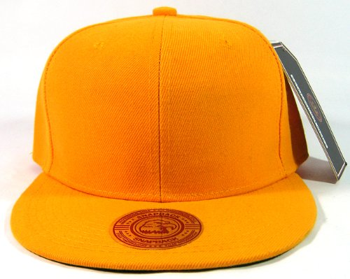 Blank Plain Vintage Snapback Caps Fashion - Solid Golden Yellow front-1049581