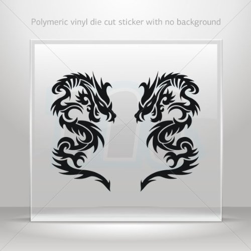 Decal Stickers Pair Of Dragons Decoration Waterproof Racing Vehicle Ta Black (40 X 21.8 In)