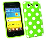 Emartbuy® Samsung I9070 Galaxy S Advance Polka Dots Gel Skin Cover/Case Green / White