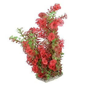 Uxcell Aquarium Snowflake Leaves Simulation Water Plant/Grass, 13.4-Inch, Green/Red