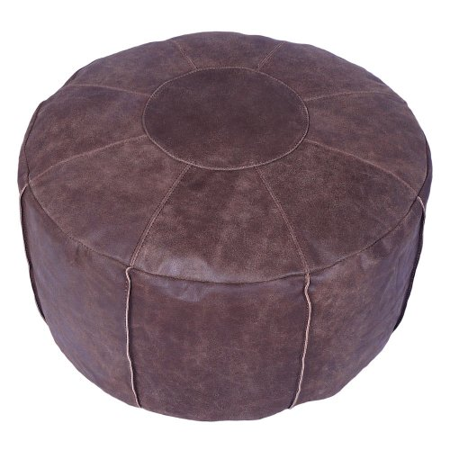 Real Leather Brown Round Moroccan Small Stacking Footstool Bean Bag with Filling