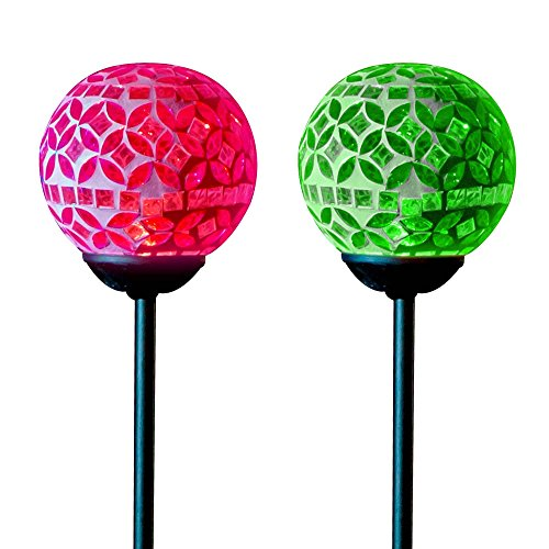 Solar Mosaic Crackle Ball Stake Light Globes Best LED Outdoor Glass Garden Decor Path Patio Lawn Decoration