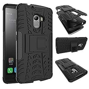 Sun tigers Tough Hybrid Armor Back Cover Case with Kickstand for Lenovo K4 Note (Black)