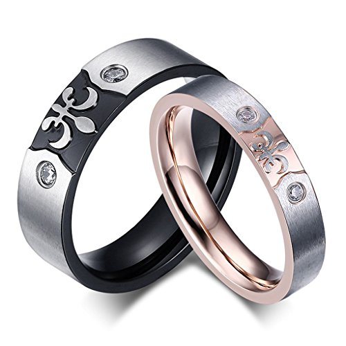 ROWAG 6MM Mens Cubic Zirconia Engraved Titanium Stainless Steel Couple Wedding Bands for Him and Her 4MM Rose Gold Womens Rhinestone CZ Inlay Promise Engagement Rings