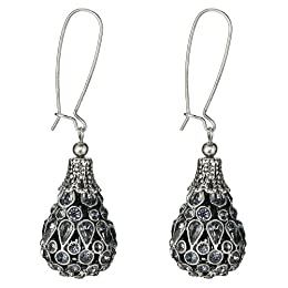 Jeweled Teardrop Earring - Silvertone : Target