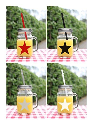 """'Verres """"étoile + paille bouteille verre avec couvercle verre multicolore avec anse 450ml Lot de 4Verre à cocktail Punch moderne en verre lignes"""
