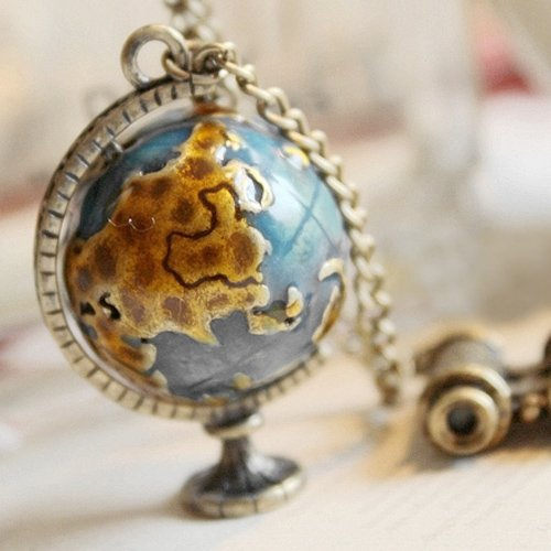 Fashion Jewelry Women Personality Vintage Miniature Telescope Global Travel Globe Necklace