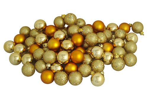 96ct Gold Glamour Shatterproof 4-Finish Christmas Ball Ornaments 1.5